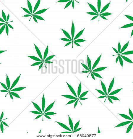 Green marijuana seamless background. Medical marijuana, legalize culture concept. Vector illustration