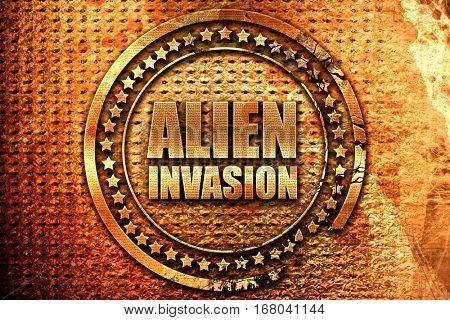 alien invasion, 3D rendering, grunge metal stamp