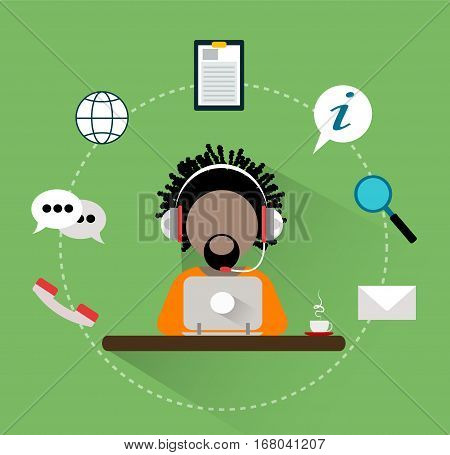 Support manager icon. Vector 24h customer support service icons concept. Flat style illustration