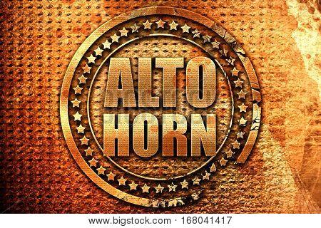 alto horn, 3D rendering, grunge metal stamp