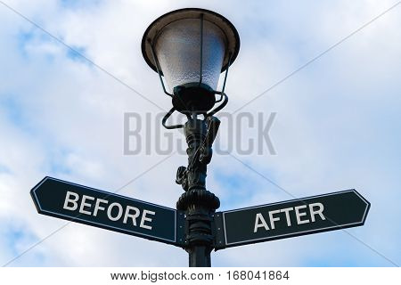 Before Versus After Directional Signs On Guidepost