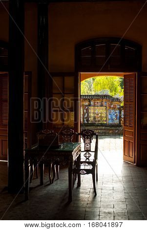 Inside of garden house in Hue Imperial Palace, Purple Forbidden City, Vietnam