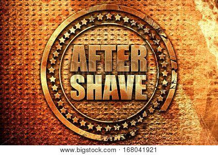 aftershave, 3D rendering, grunge metal stamp