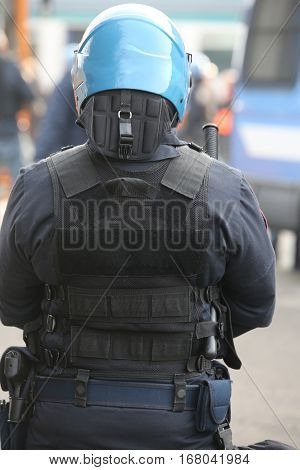 Policeman Officers In Full Riot Gear During The Event