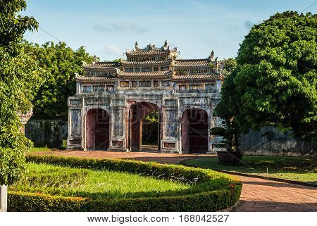 Beautifully designed gate in Hue Imperial Palace, Purple Forbidden City, Vietnam