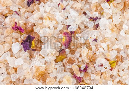 Bath salt and minerals background, close - up