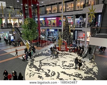 LVIV UKRAINE - JANUARY 21: Beautiful General view of the Christmas tree in the lobby of the shopping center