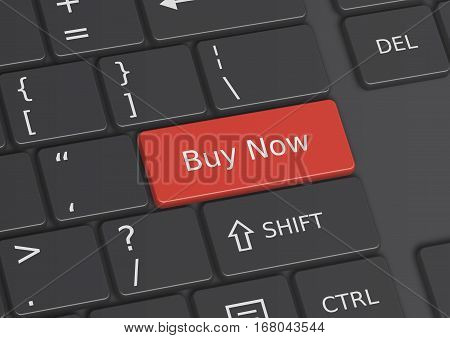 A 3D illustration of the words Buy Now written on a red key from the keyboard