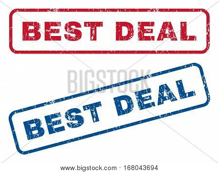 Best Deal text rubber seal stamp watermarks. Vector style is blue and red ink caption inside rounded rectangular shape. Grunge design and unclean texture. Blue and red stickers.
