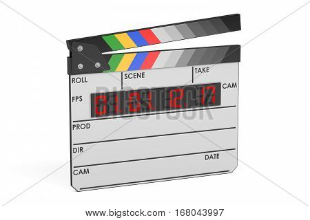 Digital movie clapper board 3D rendering isolated on white background