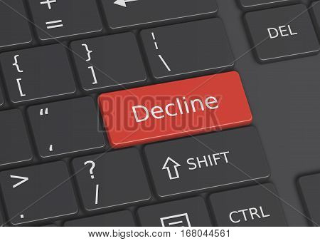 A 3D illustration of the word Decline written on a red key from the keyboard