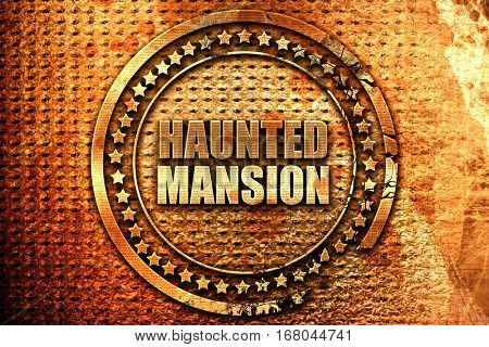 haunted mansion, 3D rendering, grunge metal stamp