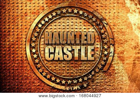 haunted castle, 3D rendering, grunge metal stamp