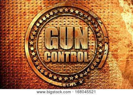 gun control, 3D rendering, grunge metal stamp