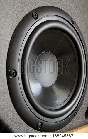Woofer Or Bass Cone Of A High End Hi-fi Speaker Cabinet