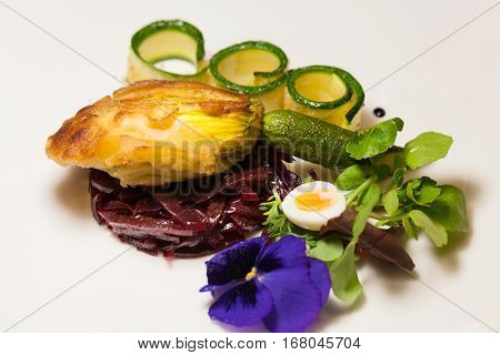 Delicious Biscuit With Beets, Zucchini And Pansy