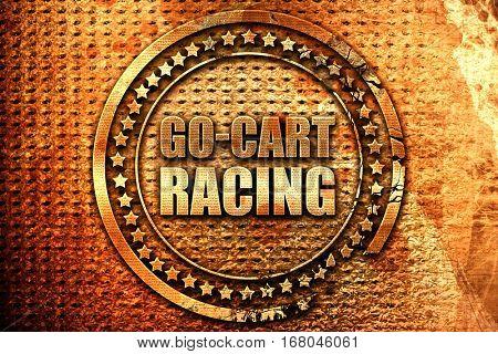 go cart racing, 3D rendering, grunge metal stamp