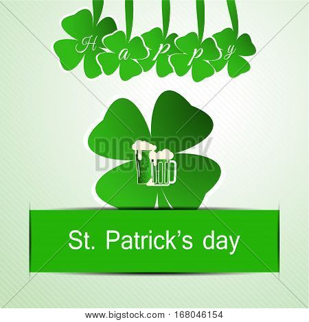 Vector Happy St. Patrick's Day poster on the gradient light green background with cutout leaf of clover hanging letters and paper stripe.