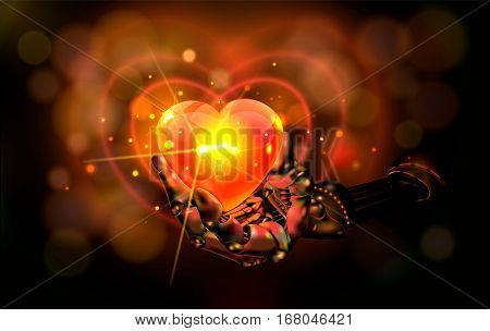 Hart. Mechanical hand. Abstraction. Manipulator holding red hart with gold Bokeh with bright light background. Rasterized Copy