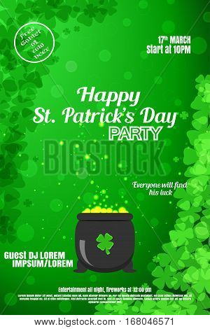 Vector Happy St. Patrick's Day night party poster on the gradient green background with leaves of clover and cauldron.