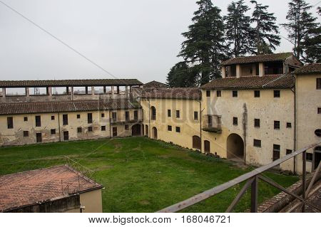 Italy Pistoia - November 27 2016: the view of inner yard of Medici Fortress of Santa Barbara on November 27 2016 in Pistoia Tuscany Italy.