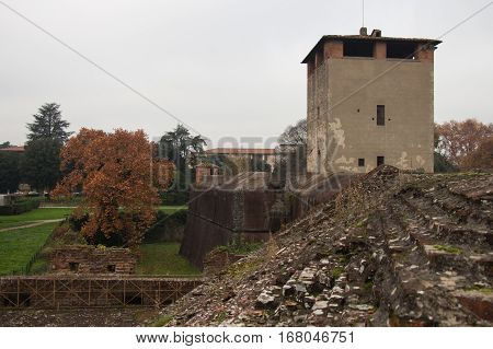 Italy Pistoia - November 27 2016: the view over the medieval towers of Medici Fortress of Santa Barbara on November 27 2016 in Pistoia Tuscany Italy.