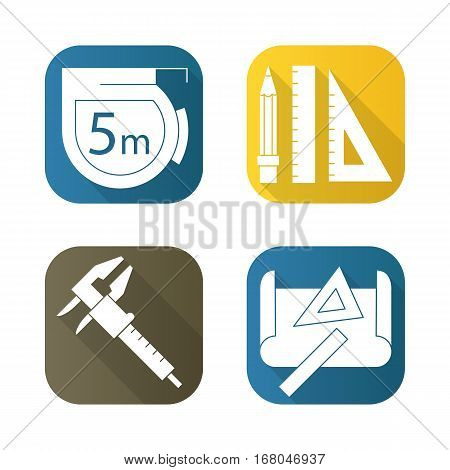 Engineering tools flat long shadow icons set. Caliper, pencil and ruler, measuring tape, drawing rulers. Isolated vector illustration