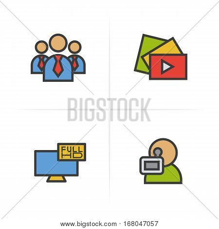Filming color icons set. Men in ties, video play button, Full HD television, videographer symbol. Logo concepts. Vector isolated illustration