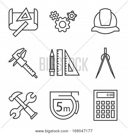 Engineering linear icons set. Drawing, gears, helmet, caliper, divider, hammer and wrench, measuring tape, calculator, pencil with rulers Logo concepts Vector isolated illustration