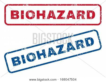 Biohazard text rubber seal stamp watermarks. Vector style is blue and red ink tag inside rounded rectangular banner. Grunge design and dust texture. Blue and red signs.
