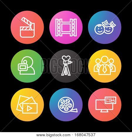 Filming linear icons set. Movie clapperboard, video film, play button, videographer, children. Smart watch UI style