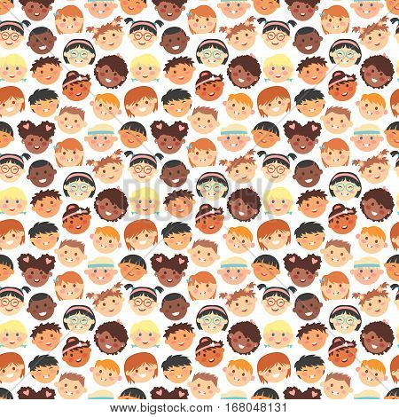 Kids faces different races vector seamless pattern. Happy smile people character background. Comic expression kid cheerful emotion. Children group heads wallpaper.