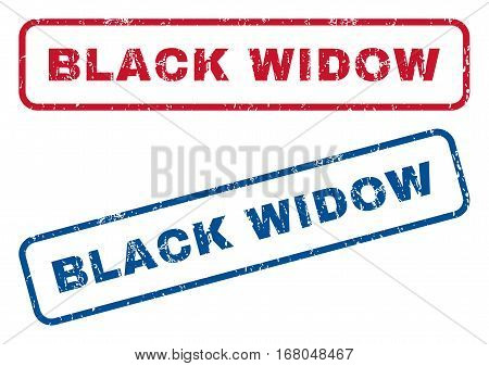 Black Widow text rubber seal stamp watermarks. Vector style is blue and red ink caption inside rounded rectangular shape. Grunge design and dirty texture. Blue and red emblems.