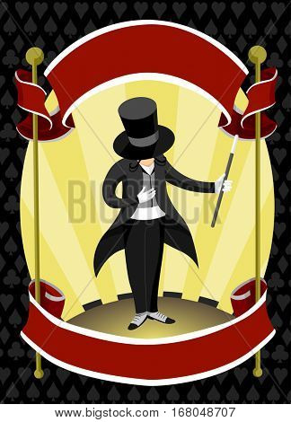 Illustration of a Man in a Magician Costume Framed by a Pair of Red Ribbons
