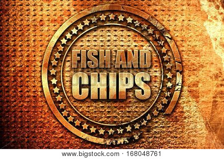 fish and chips, 3D rendering, grunge metal stamp