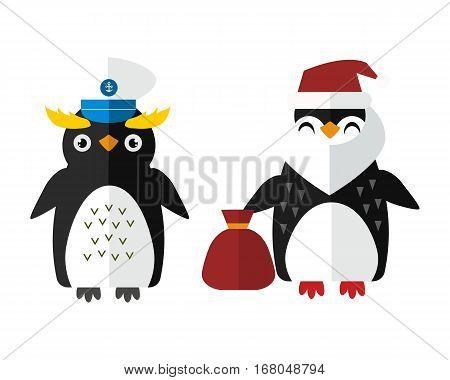 Penguin sailor santa vector illustration character. Cartoon funny cute animal with headphones isolated. Antarctica polar beak pole winter bird. Funny outdoors wild life south arctic.