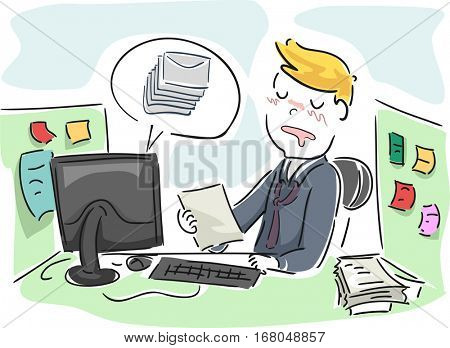 Illustration of a Man Sleeping in Front of His Monitor While Working on an Office Document