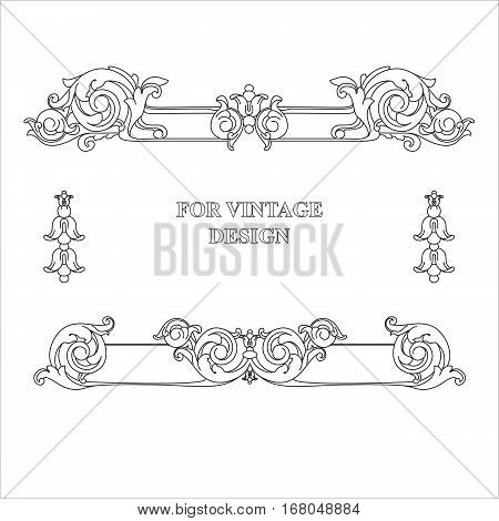 Vector frame with floral ornament on white background for vintage design. Hand drawn art. Decorative retro banner. Baroque. Antique floral illustration.