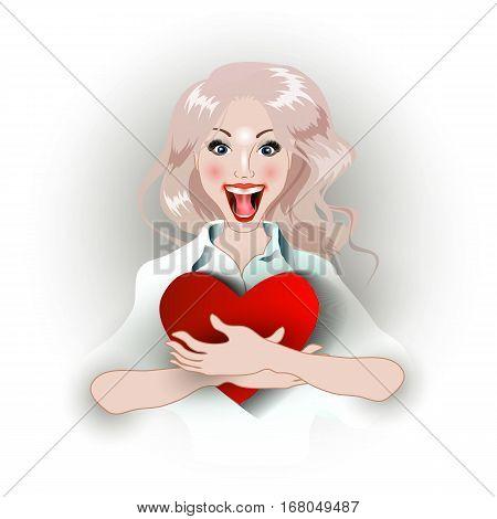 Joyful Girl Embracing Heart.