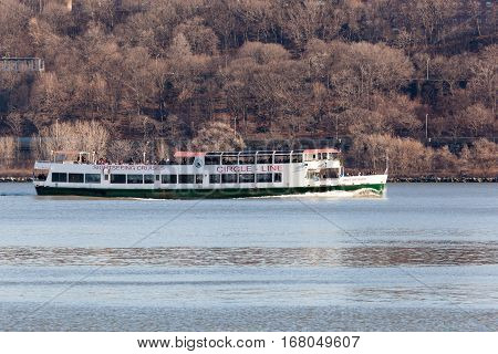 Circle Line Cruise Boat On Hudson River
