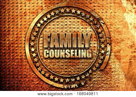 family counseling, 3D rendering, grunge metal stamp