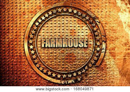 farmhouse, 3D rendering, grunge metal stamp