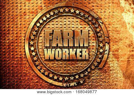 farm worker, 3D rendering, grunge metal stamp