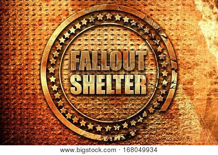 fallout shelter, 3D rendering, grunge metal stamp