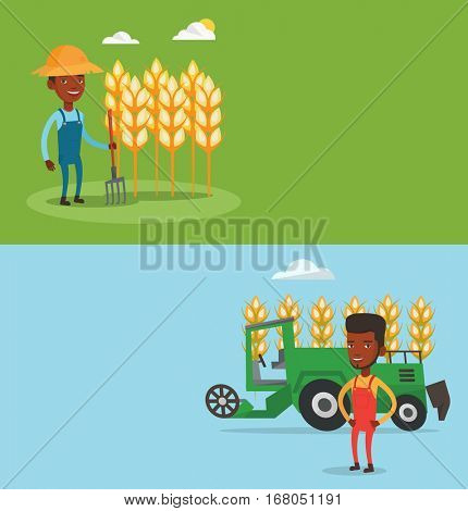 Two agricultural banners with space for text. Vector flat design. Horizontal layout. Farmer standing on background of combine harvester working in field. Farmer and combine harvester harvesting wheat.