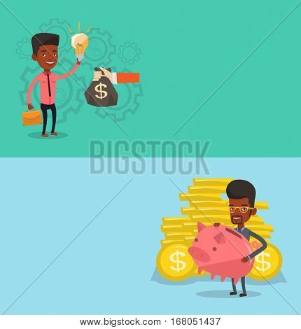Two business banners with space for text. Vector flat design. Horizontal layout. Successful businessman exchanging his business idea light bulb to money bag. Concept of successful business idea.