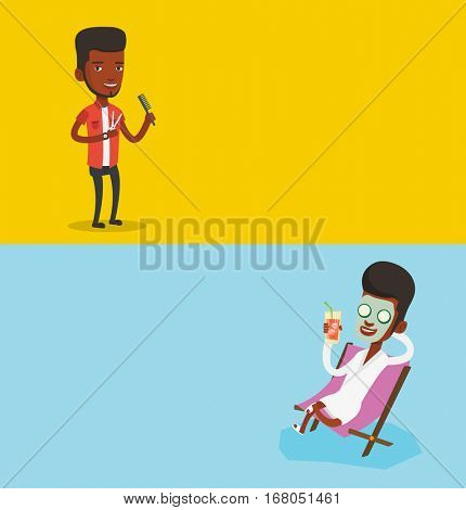 Two beauty banners with space for text. Vector flat design. Horizontal layout. Man with beauty mask on his face lying in chaise lounge and drinking cocktail. African man relaxing in beauty salon.