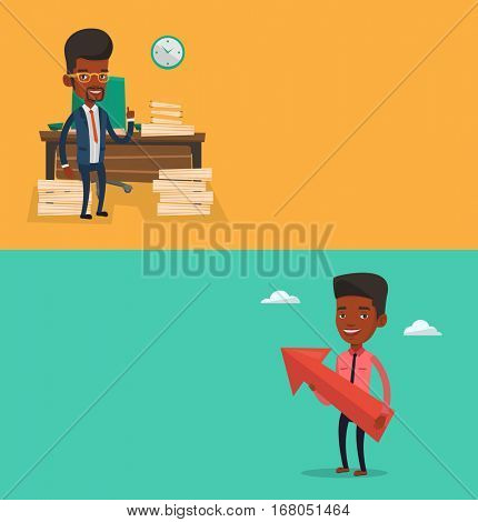 Two business banners with space for text. Vector flat design. Horizontal layout. Successful caucasian businessman holding a big arrow representing business growth. Concept of business growth.