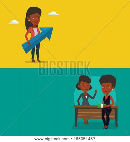 Two business banners with space for text. Vector flat design. Horizontal layout. Business woman giving a bribe. Uncorrupted business woman refusing to take a bribe. Bribery and corruption concept.