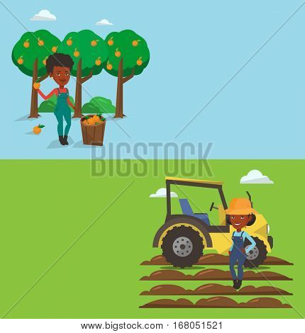 Two agricultural banners with space for text. Vector flat design. Horizontal layout. Farmer in summer hat standing on the background of tractor preparing land. Farmer standing in front of tractor.